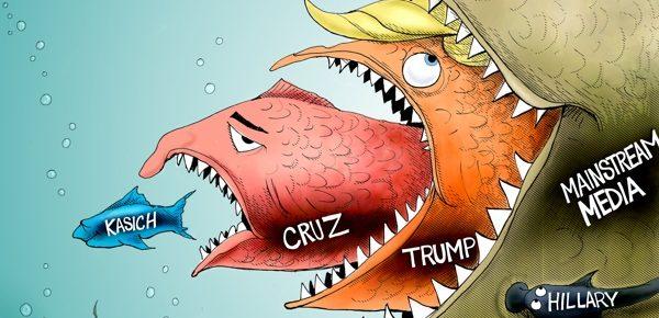 Trump vs. Media Cartoon